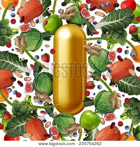 Vitamin Supplement And Food Nutrition Pill As A Natural Nutrient Pill With Vegetables Fruit Nuts And