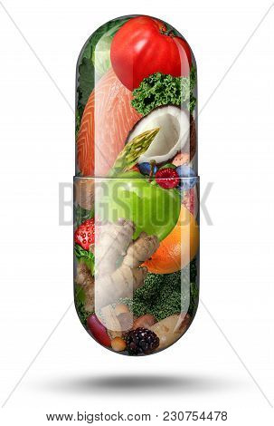 Nutrition Supplements As A Vitamin Capsule With Fruit Vegetables Nuts And Beans Inside A Nutrient Pi