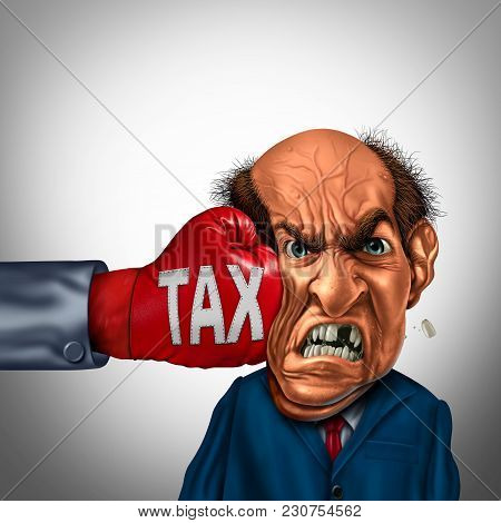 Painful Tax And Financial Blow Concept As A Fist Punching A Taxpayer Or Businessman As An Economic S