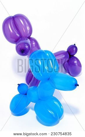 Simple Balloon Animals Isolated Over White Background