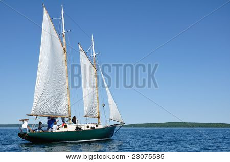 Schooner Sailboat Sailing On Lake Superior By The Apostle Islands