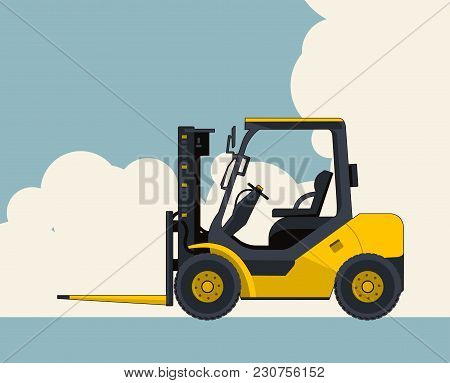 Yellow Fork Lift Loader, Sky With Clouds In Background. Banner Layout With Small Excavator, Crane. V