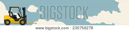 Yellow Fork Lift Loader, Sky With Clouds In Background. Horizontal Banner Layout, Small Excavator, C