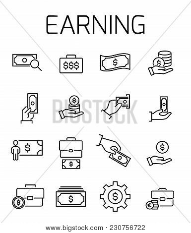 Earning Related Vector Icon Set. Well-crafted Sign In Thin Line Style With Editable Stroke. Vector S