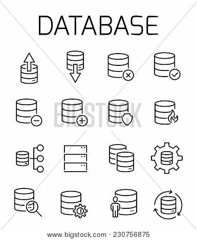 Database Related Vector Icon Set. Well-crafted Sign In Thin Line Style With Editable Stroke. Vector