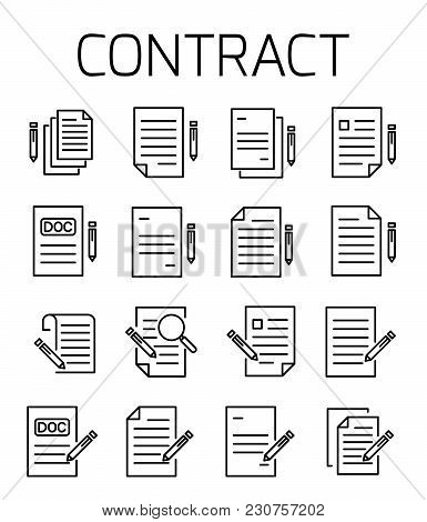 Contract Related Vector Icon Set. Well-crafted Sign In Thin Line Style With Editable Stroke. Vector