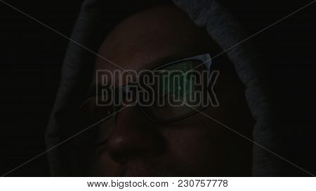 Programmer Encodes Information, The Command Line Is Reflected In Glasses Close-up, 4k
