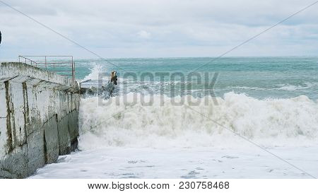 Storm In The Sea, Big Waves Beat On The Pier, Slow Motion