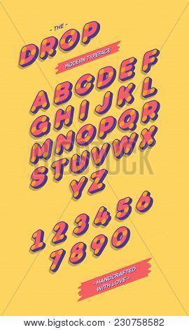 Vector 3d Sans Serif Alphabet Slanted Style. Colorful Font Modern Typography For T Shirt, Kids Book,