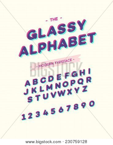 Vector Glassy Font Modern Typography. Alphabet Slanted Sans Serif Style For Party Poster, T Shirt, P