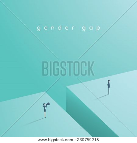 Time's Up Movement Vector Concept With Woman Shouting At Man. Symbol Of Gender Inequality, Gap, Disc