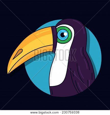Toucan Bird Colorful Cute Portrait Logo Vector Illustration