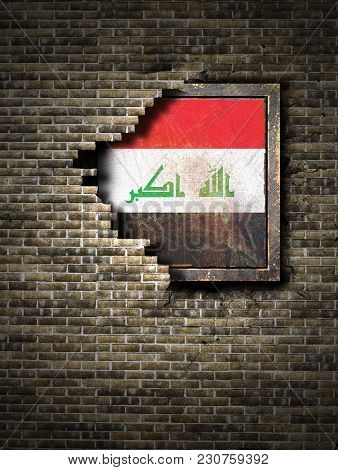 3d Rendering Of An Iraq Flag Over A Rusty Metallic Plate Embedded On An Old Brick Wall