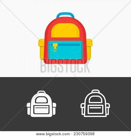 School Backpack Icon Set Colorful, Line, White Style Isolated On Background. Vector Illustration
