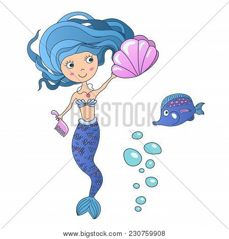 Vector Beautiful cute little siren mermaid with sea shell and tropic fish. Hand drawn illustration poster