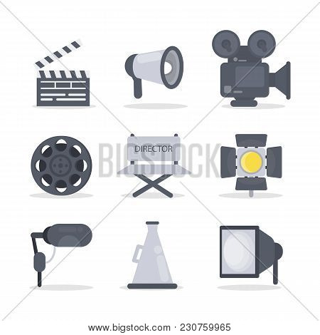 Film Director Icons Set With Camera And Light.