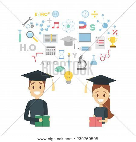 Education Concept Illustration. Graduated Students With Diloma.