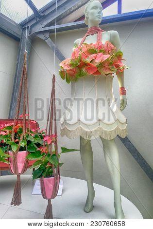 Pink Calla Lilly Floristic Decor And Dummy In Flower Greenhouse, Keukenhof Garden, Netherlands.