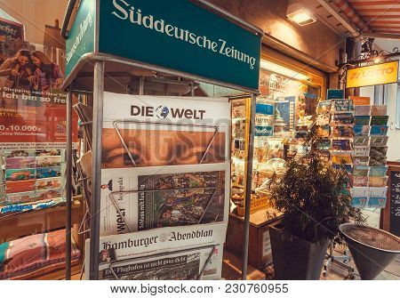 Munich, Germany - November 16, 2017: Newspaper Stand With Frontapage Of Tabloid Die Welt Near Street