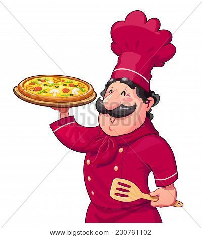 Cook With Pizza. Traditional Italian Food. Cartoon Character. Ocupation. Isolated White Background.