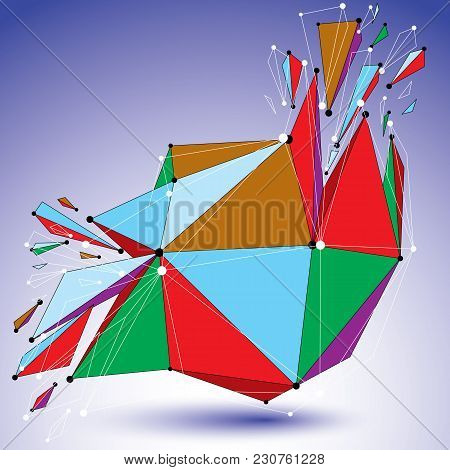 Perspective Demolished Shape, Lines And Dots Connected, Bright Polygonal Digital Wireframe Object. E