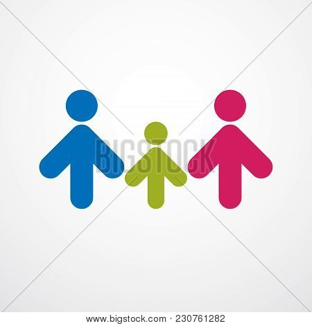 Happy Family Simple Vector Logo Or Icon Created With People Geometric Signs. Tender And Protective R