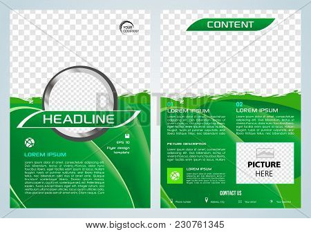 Vector Flyer, Corporate Business, Annual Report, Brochure Design And Cover Presentation With Green S