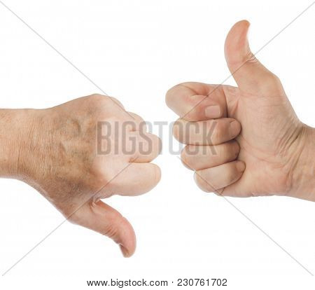 Two gesturing hands isolated on white background