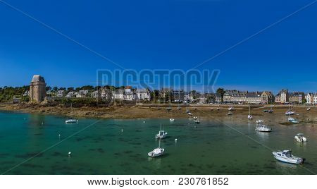 Low tide in Saint-Malo - Bretagne France - travel and architecture background