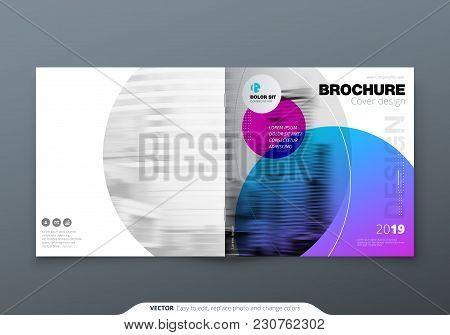 Square Brochure Design. Violet Purple Corporate Business Rectangle Template Brochure, Report, Catalo