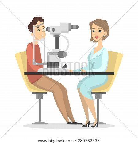 Checking The Eyesight With Medical Equipment On White.