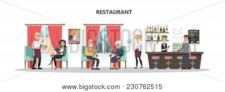 People At Restaurant With Bar Counter And Waitress On White.
