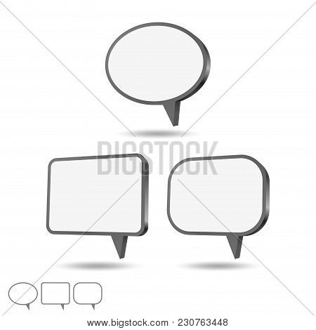 Speech Bubbles Set, Different Shapes. Vector Illustration.