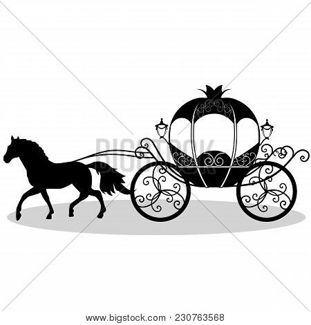 Decorative Brougham. Coach. Wedding Carriage. Vintage Carriage With The Horse Isolated On White Back