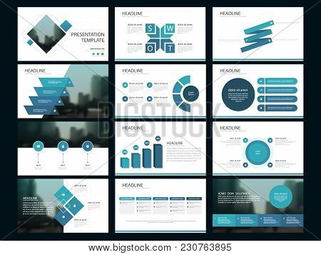 Blue Abstract Presentation Templates, Infographic Elements Template Flat Design Set For Annual Repor