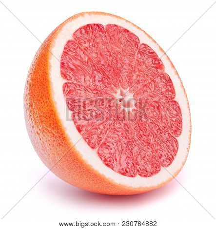 Perfectly Retouched Sliced Half Of Grapefruit Fruit Isolated On The White Background With Clipping P