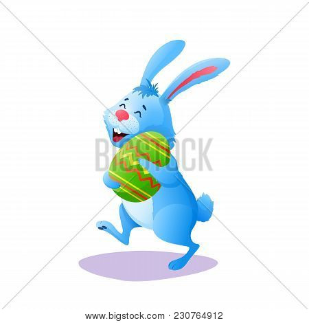Blue Cartoon Easter Rabbit Running With Paschal Egg Isolated On White Background. Flat Happy Easter