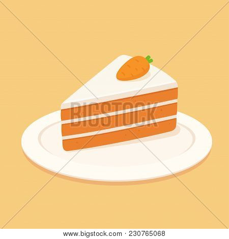 Carrot Cake Slice With Cream Cheese Frosting And Marzipan Carrot Decoration. Flat Design Vector Clip