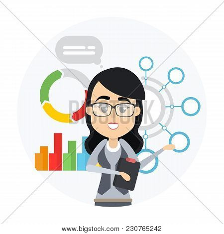 Woman With Business Presentation Showing Data And Graph.