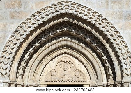 BUDAPEST, HUNGARY - OCTOBER 15: Relief of Jesus the Pantocrator from side portal of church of St. Matthias near the fisherman bastion in Budapest, Hungary, on October 15, 2017.