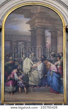 TRIESTE, ITALY - SEPTEMBER 30: The Presentation in the Temple by Felice Schiavoni, altarpiece in the church Sant'Antonio Nuovo in Trieste, Italy, on September 30, 2017.