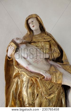 AMORBACH, GERMANY - JULY 08: Our Lady of Sorrows, statue in chapel Amorsbrunn in Amorbach, Forest of Odes Bavaria, Germany on July 08, 2017.