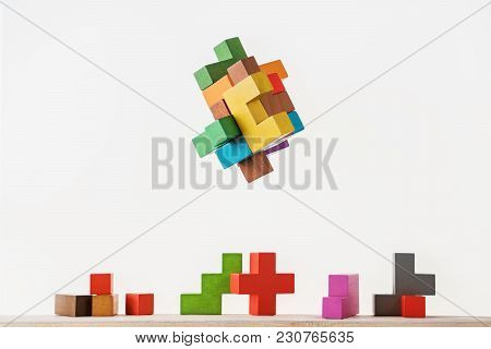 Colorful Constructor, Logic Game, Cubic Mosaic. Design Created By Cubes. The Concept Of Logical Thin