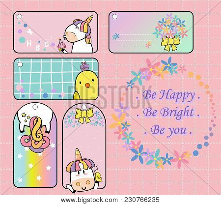 Cute Unicorn And Yellow Bird Gift Tag Set Will Make Your Day....
