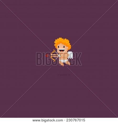 Pixel Art Smiling Cupid Holding A Bow With A Heart Shaped Arrow