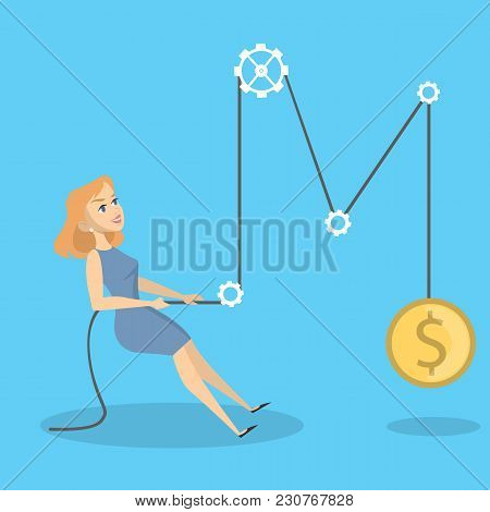 Business Woman Pulling Rope For Getting Profit.