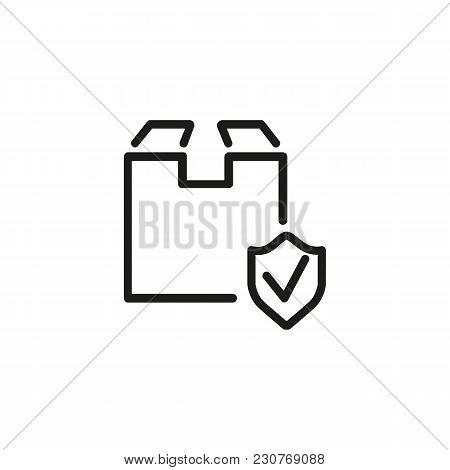Line Icon Of Cardboard Box And Shield Sign. Secure Delivery, Cargo Insurance, Parcel Protection. Pro