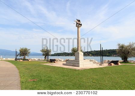 Statue Column With The Winged Lion Of St. Mark (san Marco) In Salo At Lake Garda, Italy