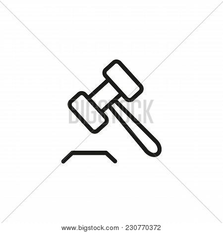 Line Icon Of Gavel. Auction, Court, Judge. Judgment Concept. Can Be Used For Topics Like Service, La