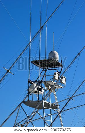 Charter Boat Fishing Boat Flying Bridge Backgound